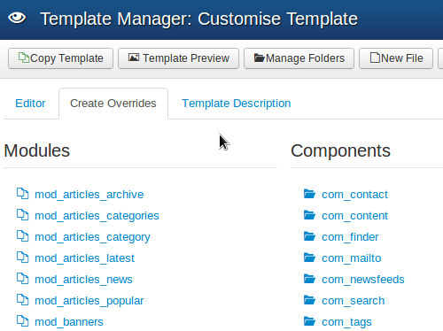 Create Overrides on Customise Template page
